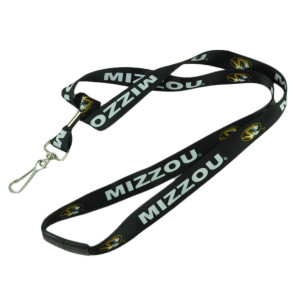 NCAA Missouri Tigers Landyard Detachable Badge Holder Repeat Logo Black Keys
