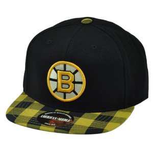 NHL American Needle Boston Bruins Flat Bill Snapback Hat Cap Checkered Yellow