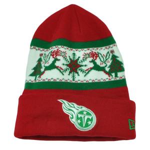 NFL New Era Fillz Tennessee Titans Cuffed Knit Beanie Toque Christmas Theme Hat
