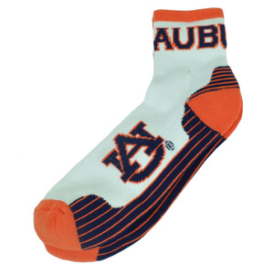 NCAA Auburn Tigers Large Ankle Socks 8-13 White Orange Fan Game Day Spirit Men