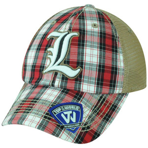 NCAA Louisville Cardinals Avery 2 Tone Plaid Trucker Snapback Adjustable Hat Cap