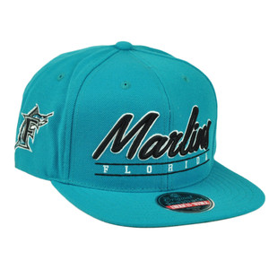 MLB American Needle Florida Marlins Snapback Flat Bill Hat Sport Script Old Logo