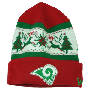 NFL New Era Fillz St Louis Rams Cuffed Knit Beanie Toque Christmas Theme Hat