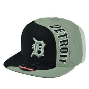 MLB American Needle Detroit Tigers Snapback Flat Bill Curve Split Hat Cap Black
