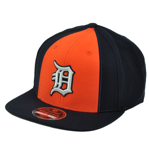 MLB American Needle Detroit Tigers Snapback Flat Bill 2Tone Hat Cap Blue Orange