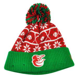 MLB New Era Sweater Chill Baltimore Orioles Pom Pom Cuffed Knit Beanie Winter