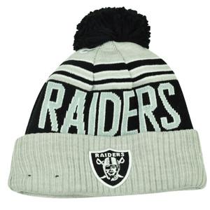NFL New Era Winter Blaze Pom Pom Cuffed Knit Beanie Oakland Raiders Hat Toque