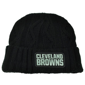 NFL New Era Grey Collection Cleveland Browns Knit Beanie Crochet Hat Black Toque