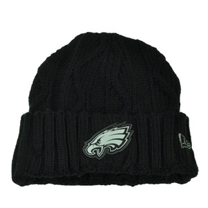 NFL New Era Grey Collection Philadelphia Eagles Knit Beanie Crochet Hat Black