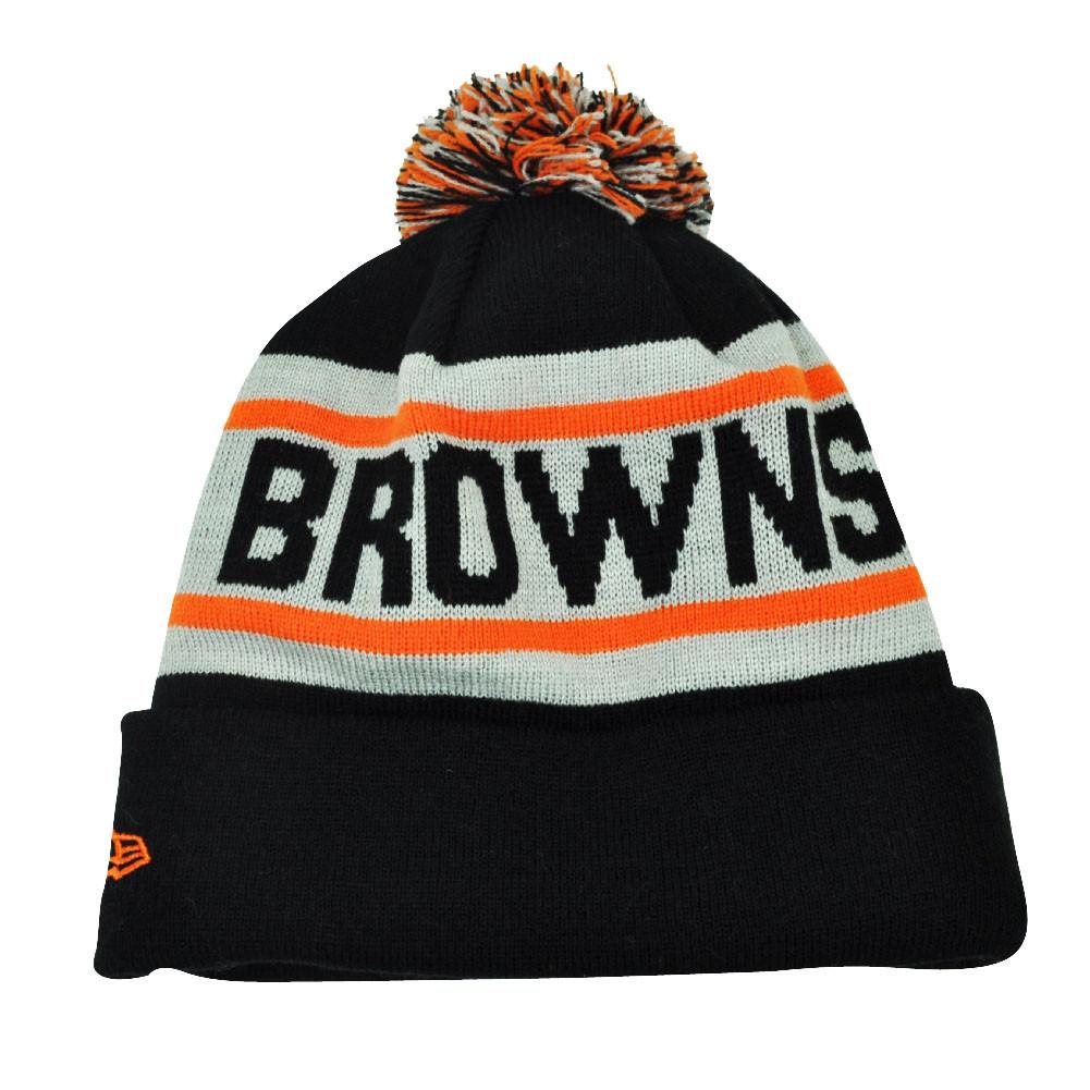a7a273ac898 NFL New Era Biggest Fan Pom Pom Striped Cuffed Cleveland Browns Knit Beanie  Hat. Image 1