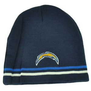 NFL San Diego Chargers Cuffless Blue Striped Beanie Knit Winter Sport Skully Hat