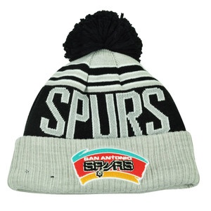 NBA New Era Winter Blaze Pom Pom Cuffed Knit Beanie San Antonio Spurs Hat Toque