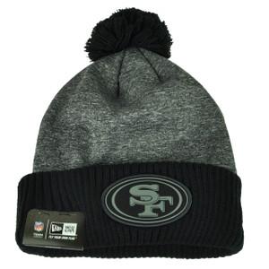 NFL New Era Black Gray Sport Knit Beanie Cuffed Pom Pom San Francisco 49ers Hat