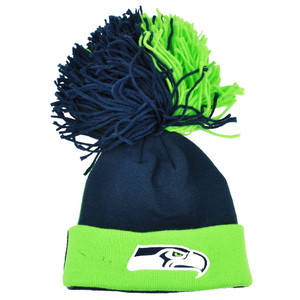 NFL New Era Two Sider Seattle Seahawks Knit Beanie Hat Cuffed Pom String Toque