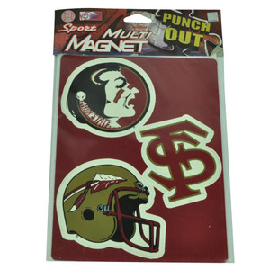 NCAA Florida State Seminole Sport Multi Magnets Red Helmet Spear Fridge Collect