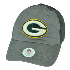 NFL Green Bay Packers Hat Cap Two Tone Grey Adjustable Sun Buckle Relaxed Slouch
