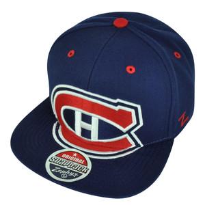 NHL Zephyr Montreal Canadiens Villain 6 Panel Navy Flat Bill Snapback Hat Cap