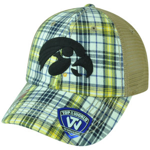 NCAA Iowa Hawkeyes Avery Two Tone Plaid Mesh Trucker Snapback Adjustable Hat Cap