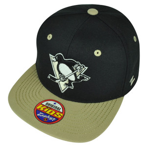 NHL Zephyr Pittsburgh Menace Penguins Youth Black Flat Bill Snapback Hat Cap
