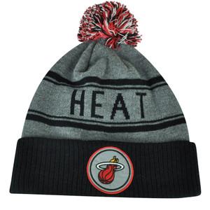 NBA Adidas Miami Heat Cuffed Pom Pom Striped Knit Beanie Hat Toque Gray Winter