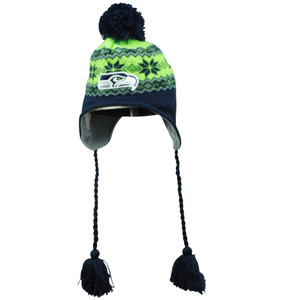 NFL New Era Seattle Seahawks Stay Toasty Knit Beanie Peruvian Tassel Pom Hat