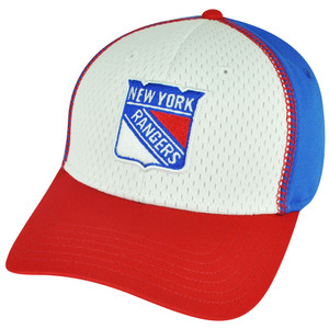 NHL American Needle New York Rangers Flex Fit Medium White Blue Hat Cap Stretch