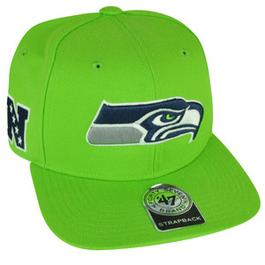 NFL '47 Brand Forty Seven Seattle Seahawks Super Shot Strapback Flat Bill Green Hat