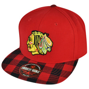 NHL American Needle Chicago Blackhawks Red Plaid Vintage Sun Buckle Flat Hat Cap