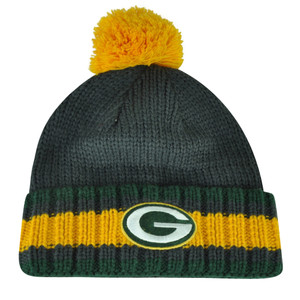 NFL Green Bay Packers Pom Pom Cuffed Knit Beanie Toque Crochet Winter Grey Hat