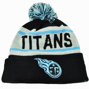 NFL New Era Tennessee Titans Biggest Fan Knit Beanie Pom Pom Cuffed Stripe Hat