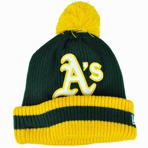 MLB New Era Oakland Athletics Chiller Filler Cuffed Knit Beanie Pom Pom Toque