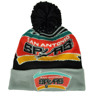 NBA New Era San Antonio Spurs Logo Whiz Pom Pom Knit Beanie Cuffed Hat Toque