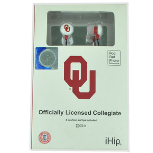 NCAA Oklahoma Sooners iHip Earphones Headphones Music Loud Audio MP3 Sports Fan