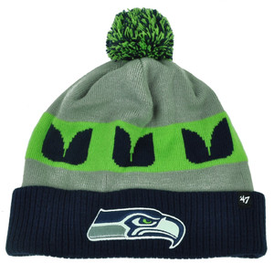 NFL '47 Brand Seattle Seahawks Cuffed Knit Beanie Pom Pom Winter Hat Toque Pom