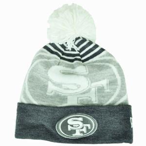 NFL New Era San Francisco 49ers Logo Whiz Pom Pom Knit Beanie Cuffed Gray White