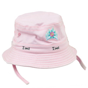 Iowa Gem State Pink Toddler Sun Bucket Crusher Hat USA America Crown Princess