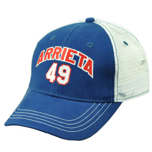Chicago Cubs Jake Arrieta 49 Player Blue Mens Mesh Snapback Hat Cap Baseball