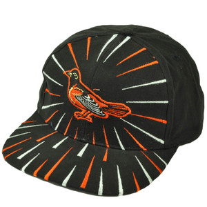 Baltimore Orioles Deadstock Vintage Snapback Hat Cap Baseball Burst Black Orange