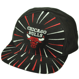 Chicago Bulls Dead Stock Vintage Snapback Hat Cap Old School Black Fireworks