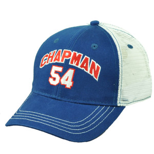 Chicago Cubs Aroldis Chapman 54 Player Blue Mens Mesh Snapback Hat Cap Baseball