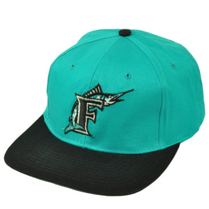Florida Marlins Deadstock Vintage Snapback Baseball Hat Cap Flat Bill Aqua Black