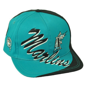 Florida Marlins Deadstock Vintage Snapback Baseball Hat Cap Flat Bill Old School