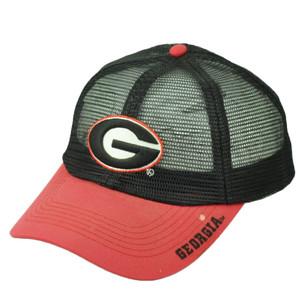 NCAA Georgia Bulldogs Mesh Snapback Hat Cap Black Red Mens Dawgs Curved Bill