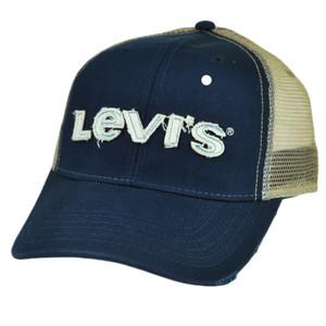 Levis Famous Jeans Denim Mesh Sanpback 2 Tone Blue Beige Hat Cap Slouch Relaxed