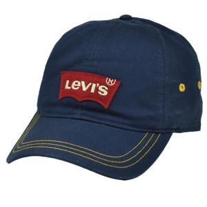 Levis Famous Jeans Denim Logo Applique  Navy Blue Hat Cap Slouch Relaxed