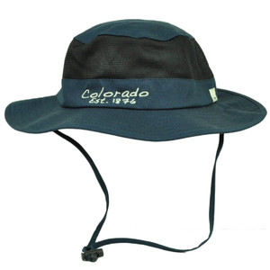 Colorado State Navy Blue Booney Sun bucket Hat Chin Strap Mesh Outdoors USA