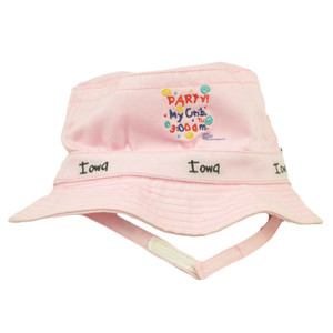 Iowa Party My Crib 3 AM Pink Sun Bucket Hat Infant Baby Girl Adjustable Strap