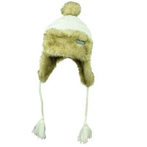 Las Vegas Crochet Aviator White Faux Fur Ear Flap Knit Beanie Womens Sin City