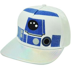 Disney Star Wars R2D2 Droid Glitter Reflective Flat Bill Snapback Hat Cap Movie