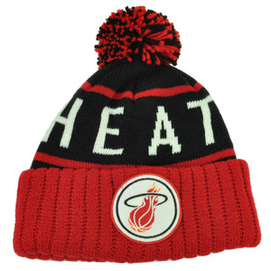 Mitchell Ness BKRD Miami Heat Cuffed Pom Pom Knit Beanie Skully Basketball Red
